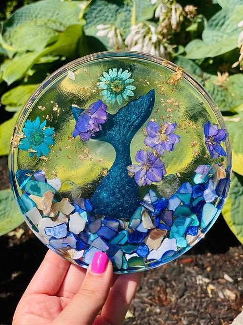Blue Quartz Crystal Mermaid Fin Coaster