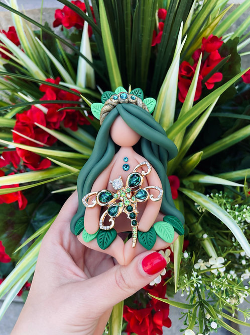 Emerald DragonFly Crystal Goddess