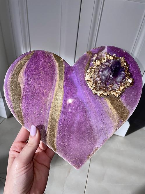 Amethyst Crystal Heart Plaque