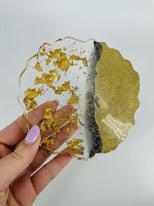 Gold Leaf Black Galaxy Goddess Coaster