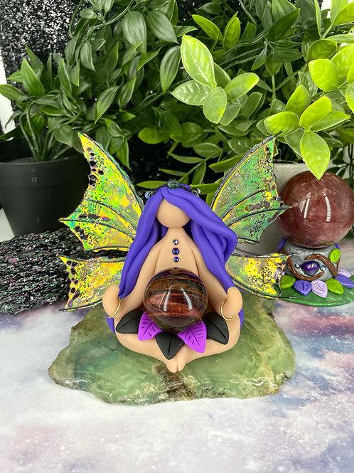 Meditating Tigers Eye Dragon Goddess