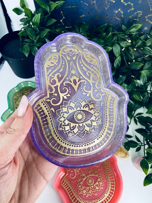 Purple Amethyst Hand of Fatima Dish