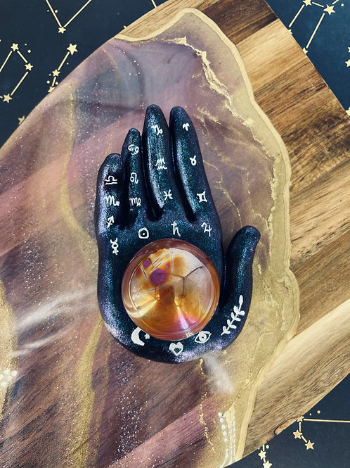 Four Elements Palm Sphere Holder and Aura Crystal Ball.  This magical piece was