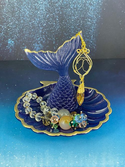 Purple Sparkling Seashell Mermaid Trinket Dish