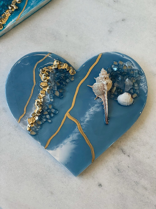 Mediterranean Crystal Ocean Heart Plaque