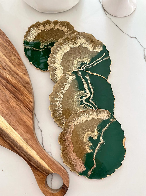 Forest Green and Gold Coaster Set with Jade Crystals