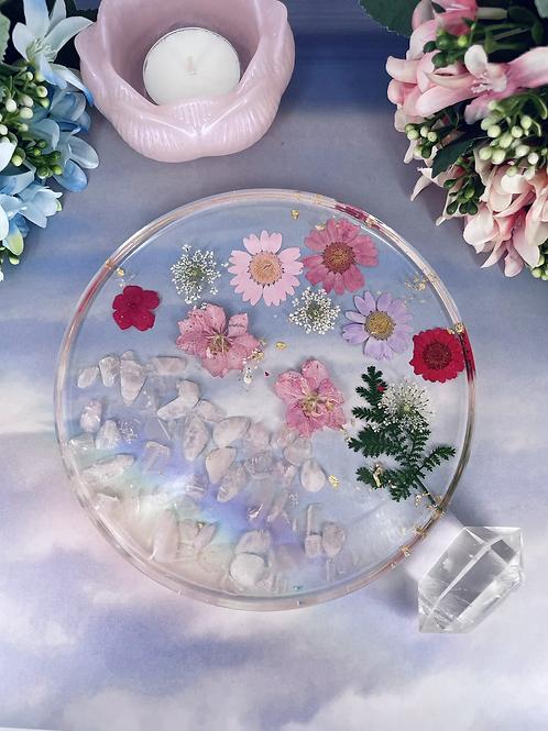 Rose Quartz Floating Flower Coaster