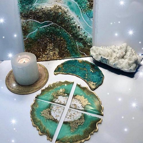 Jade Crystal Coaster Set