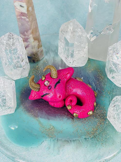 Fuchsia Pink Sleeping Crystal Dragon