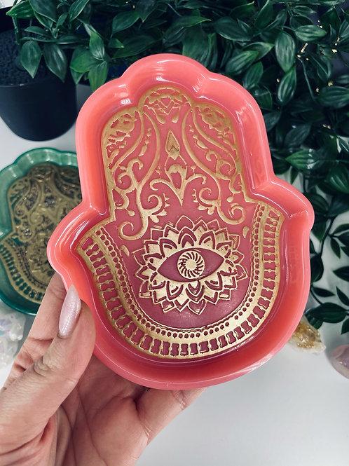 Coral Rose Quartz Hand of Fatima Dish
