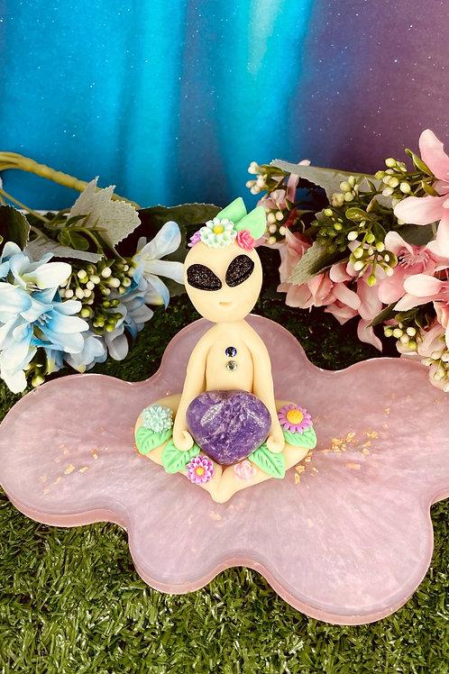 Amethyst Crystal Heart Glowing Alien Tixxis