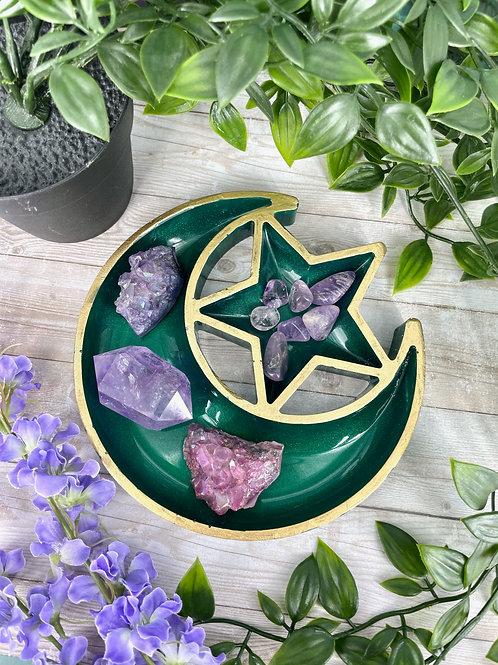 Emerald Green Star Moon Crystal Charging Tray