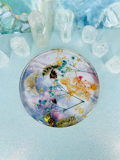 Dreamy Skies Floral Crystal Candle Coaster