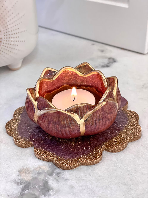Deep Rose Lotus Flower Candle Holder
