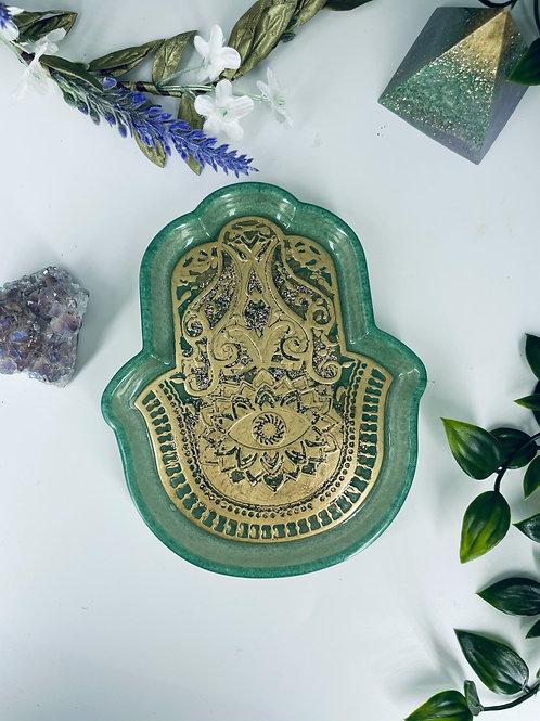 Mint Green Aventurine Hand of Fatima Dish