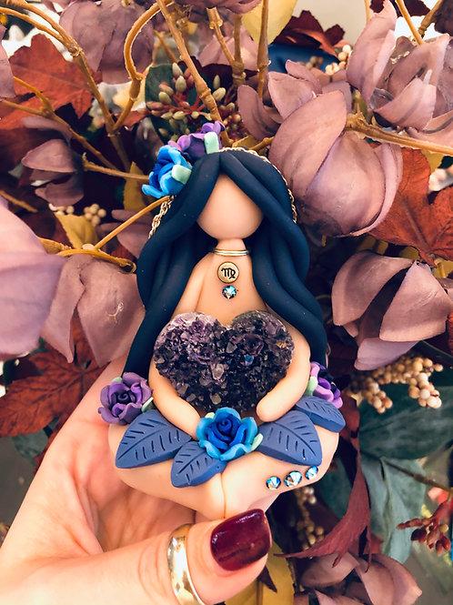 Virgo Zodiac Goddess with Amethyst Heart