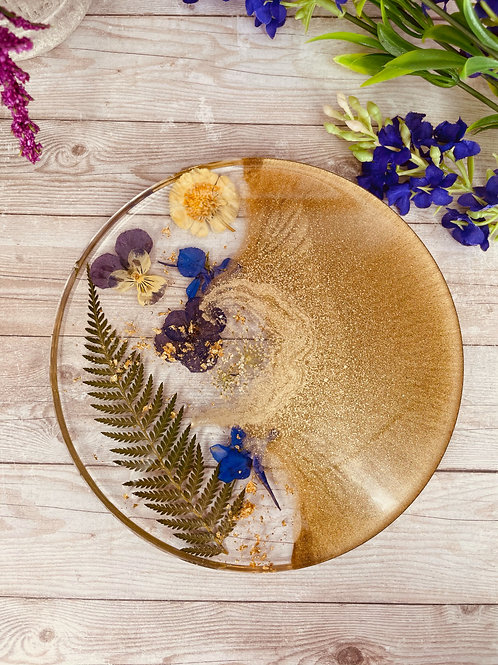 Gold Crescent Moon Flower Coaster