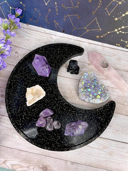 Black Galaxy Crescent Moon Dish