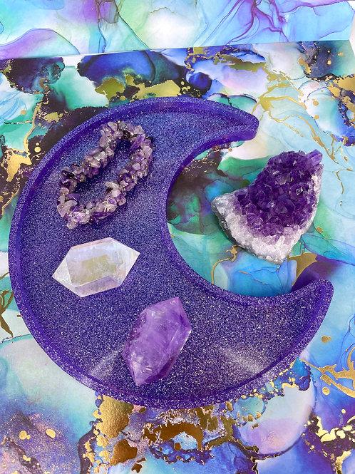 Crescent Moon Purple Galaxy Dish
