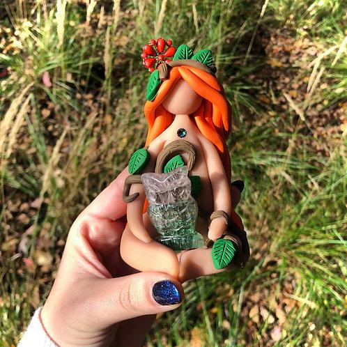 Fluorite Owl Forest Goddess