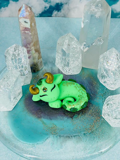 Seafoam Green Sleeping Crystal Dragon