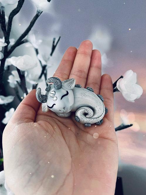Silver Sleeping Crystal Dragon