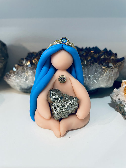 Mini Zodiac Aquarius Goddess with Pyrite Crystal