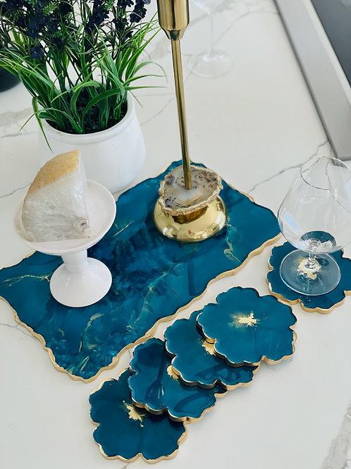 Sparkling Sapphire Flower Coaster Set of Five