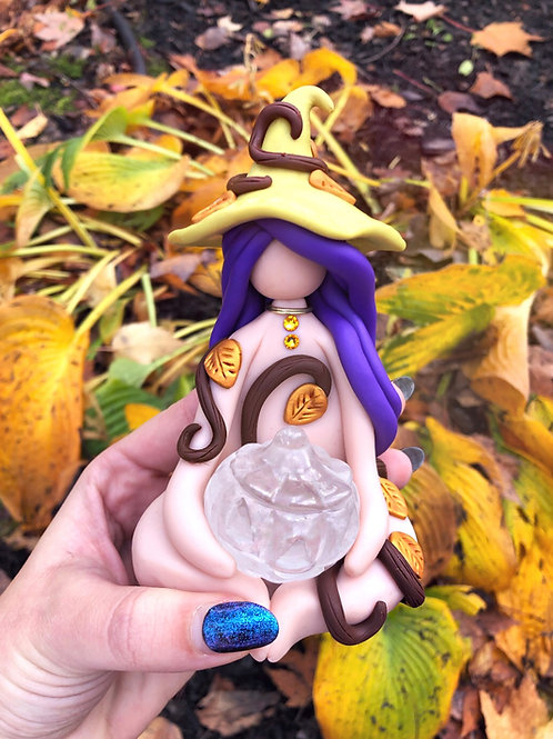 Crystal Quartz Pumpkin Witch of Fall Leaves