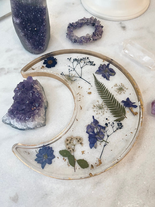 Floating Floral Crescent Moon Dish