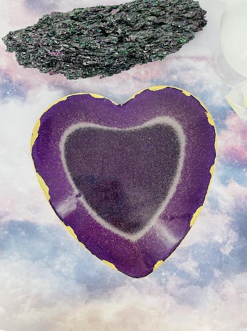 Large Purple Amethyst Heart Plate