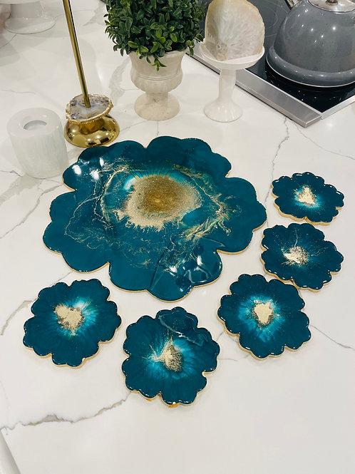 Emerald Fluorite Blooming Crystal Coaster Set