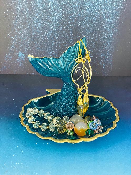 Blue Diamond Seashell Mermaid Trinket Dish