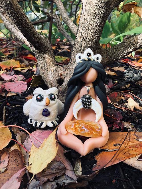Citrine Owl Goddess Set