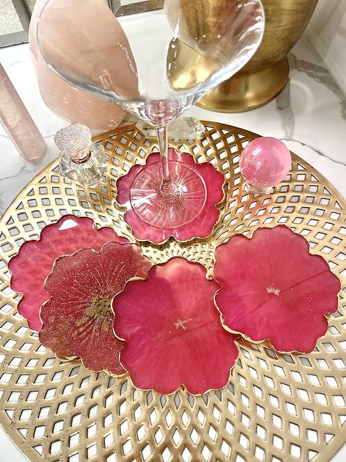 Magenta Blooming Coaster Set with Rose Quartz Crystals