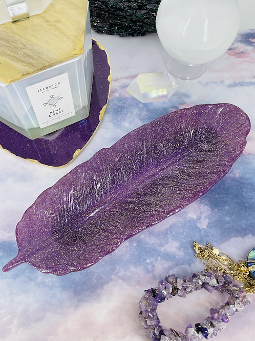 Sparkling Amethyst Feather Dish