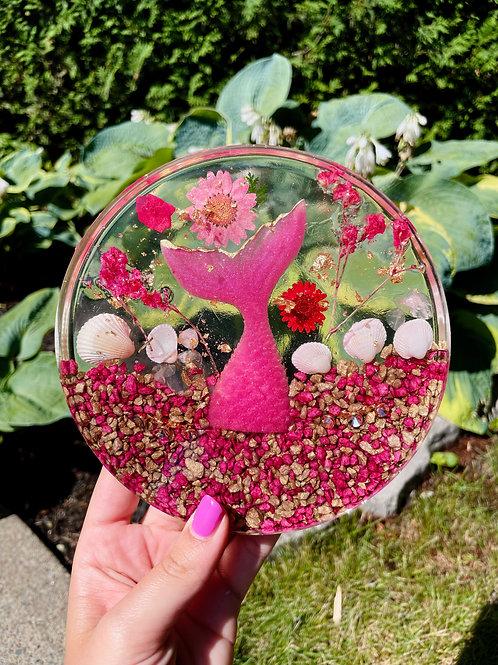 Rose Quartz Crystal Mermaid Fin Coaster