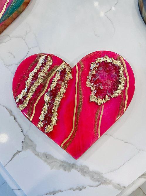 Sparkling Pink Quartz Crystal Heart Plaque