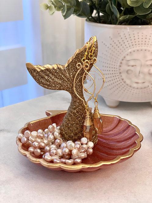 Deep Rose Gold Seashell Mermaid Trinket Dish