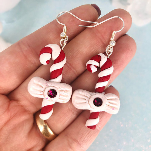 Crystal Candy Cane Earrings