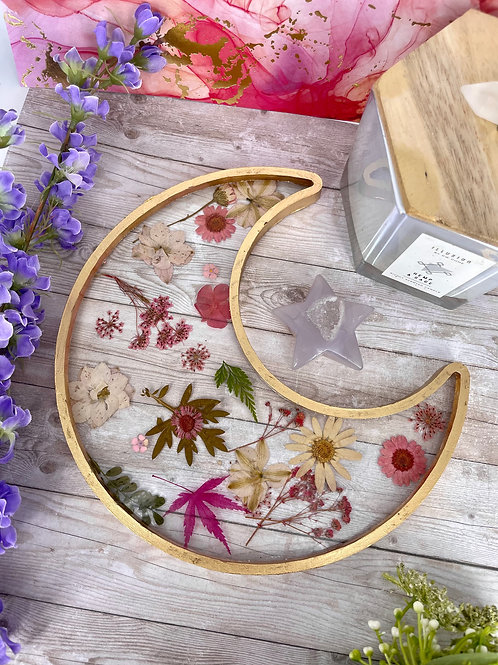 Floating Pink Floral Crescent Moon Dish