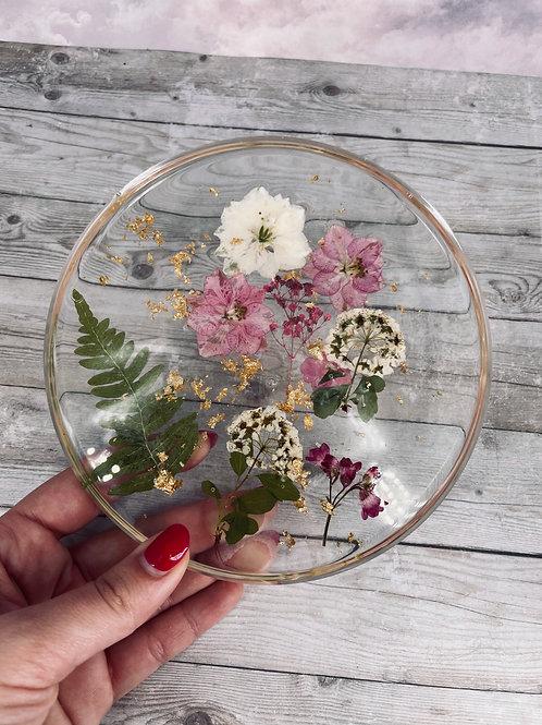 Pink Flora Floating Flower Coaster