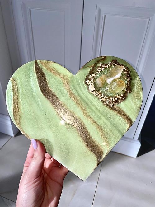 Tea Green Citrine Crystal Heart Plaque