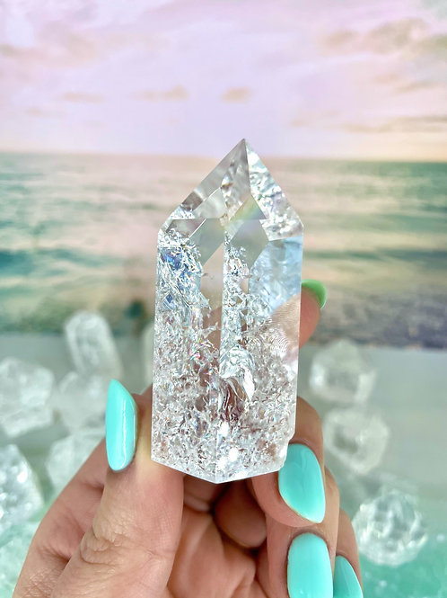 Rainbow Crackle Quartz Towers Large