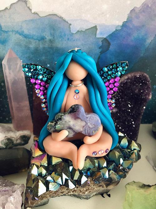 Moss Agate Healing Sky Fairy Ornament