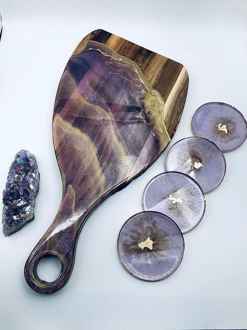Lilac Amethyst Coaster Set
