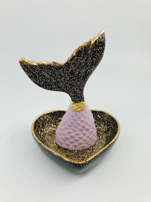 Obsidian Pink Mermaid Trinket Dish
