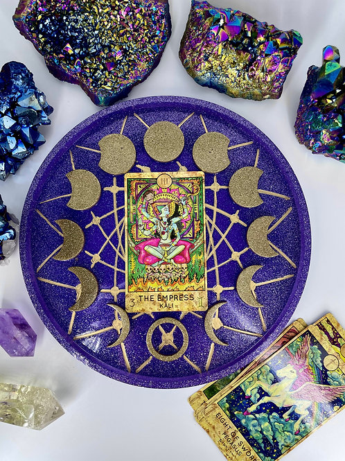 Amethyst Moon Cycle Crystal Tarot Charging Tray in Purple and Sparkling Gold