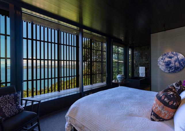 master bedroom.jpgwaiheke island lantern house holiday rental accomodation - bedroom with view king sized bed