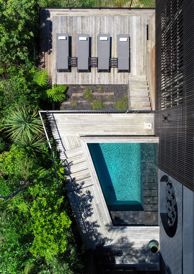 waiheke island lantern house holiday rental accomodation - top view herbst architects design